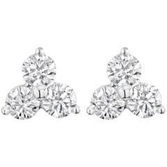 0.48 Carat Diamond Cluster Stud Earrings