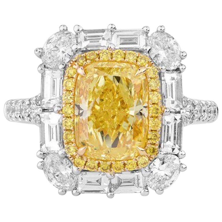 4.00 Carat Intense Yellow Diamond Ring