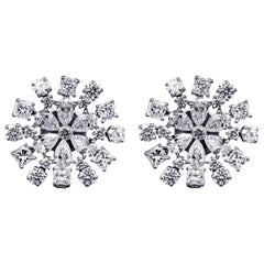 5.89 Carat Diamond Flower Shaped Earring
