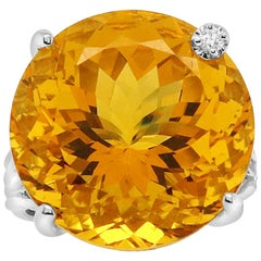 21.17 Carat Round Citrine and White Diamond Ring