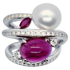 Matsuzaki Platinum 6.03ct Cabochon Tourmaline Pearl Diamond Ruby Cocktail Ring