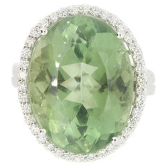 15.52 Carat Green Amethyst and White Diamond Ring
