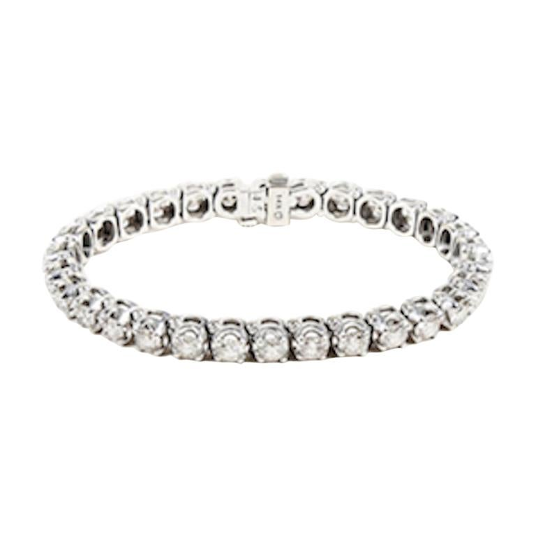 10 Carat White Diamond And Gold Tennis Bracelet For