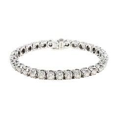 10 Carat White Diamond And Gold Tennis Bracelet
