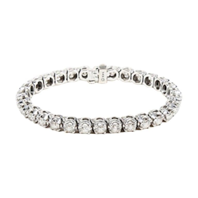 10 Carat White Diamond and White Gold Tennis Bracelet