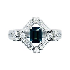 Matsuzaki Platinum 0.61 Carat Baguette Cut Alexandrite Diamond Ring