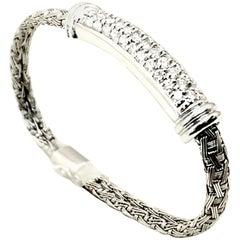 Roberto Coin 18 Karat White Gold Diamond Bar Woven Bracelet