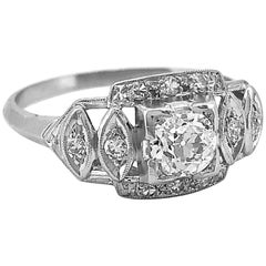 Art Deco Platinum Antique Engagement Ring .40 Carat Diamond