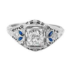 Edwardian .50 Carat Diamond and Sapphire Antique Engagement Ring 18 Karat Gold
