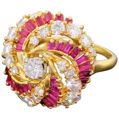 Kutchinsky of London Diamond & Ruby 18k Gold Pinwheel Cluster Cocktail Ring