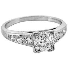Art Deco .43 Carat Diamond Antique Engagement Ring Platinum