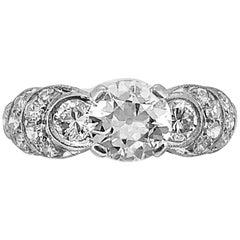 Art Deco .73 Carat Diamond Antique Engagement Ring Platinum