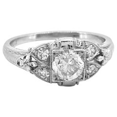 Art Deco .40 Carat Diamond Antique Engagement Ring Platinum