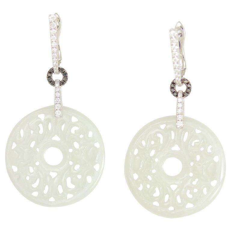 Frederic Sage 23.15 Carat Jad and Diamond Earrings