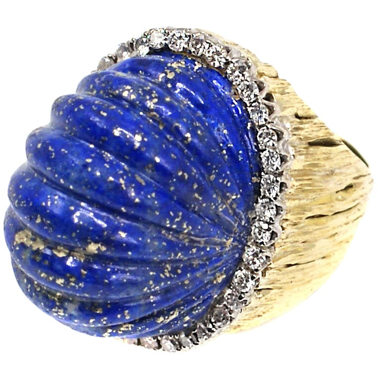 Fluted Melon Carved Lapis Lazuli Diamond 18 Karat Gold Ring
