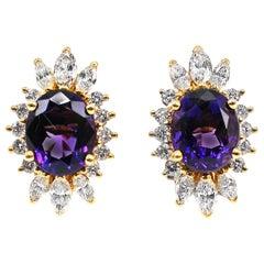 French Amethyst Diamond 18 Karat Gold Earrings
