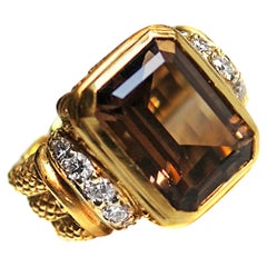 Judith Ripka Smoky Quartz Diamond 18 Karat Gold Ring