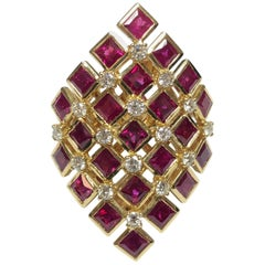 Chess Style Jewelry Gold Ring with Diamonds and Burmese Rubies