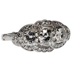 American 20th Century Classic Antique Platinum Triple Diamond Ring