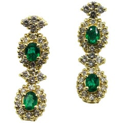 Emerald Diamond Yellow Gold Drop Earrings