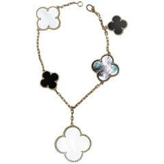 Van Cleef & Arpels Magic Alhambra White and Grey Mop Onyx Bracelet, Yellow Gold