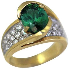 3.07 Carat Oval Green Tourmaline, 1.00 CT Diamonds, 18k Yellow Cocktail Ring