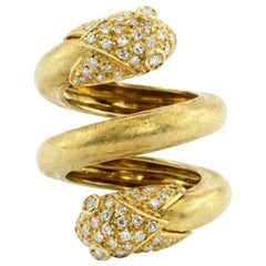 Retro Yellow Gold and Diamond Double Headed Snake Ring, circa 1970s