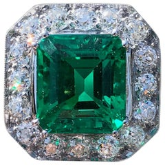 AGL Certified 6.52 Carat Columbian Emerald and Diamond Ring, circa 1920s