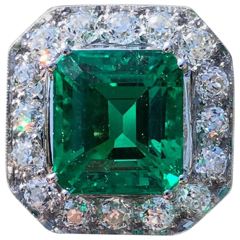 AGL Certified 6.52 Carat Columbian Emerald and Diamond Ring, circa 1920s