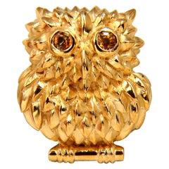 14 Karat Vintage Sapphire Owl Brooch Pin 3D Cute