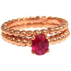 .82 Carat Natural Vivid Bright Ruby Solitaire Ring and Band 14 Karat