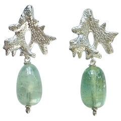 Green Beryl Drop Stud Earrings