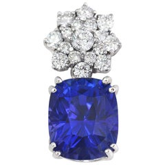 12.56 Carat Tanzanite and DIA Pendant, 18 Karat W, 1990s