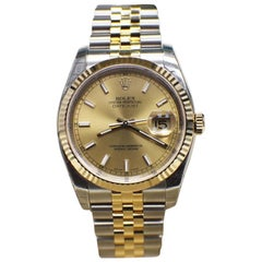 Brand New Rolex Datejust 116233 Champagne 18 Karat Gold and Steel Box Papers