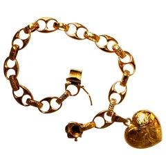 14 Karat Yellow Gold Marine Anchor Link Locket Bracelet