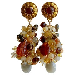 Moonstone Citrine Sesparite Quartz Zircon Hessonite Carnelain Cluster Earrings