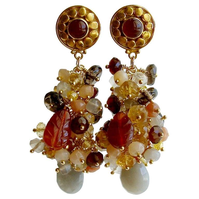 Moonstone Citrine Sesparite Quartz Zircon Hessonite Carnelain Cluster Earrings