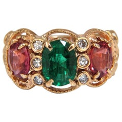 2.77 Carat Natural Spinel Emerald Ring Three-Stone Classic 14 Karat Mother Ring