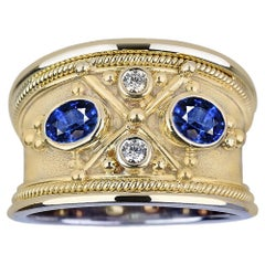 Georgios Collections 18 Karat White and Yellow Gold Diamond and Tanzanite Ring