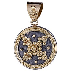 Georgios Collection 18 Karat Gold Byzantine Pendant With Granulation & Rhodium