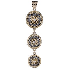 Georgios Collection 18 Karat Gold Byzantine Pendant With Diamonds And Rhodium