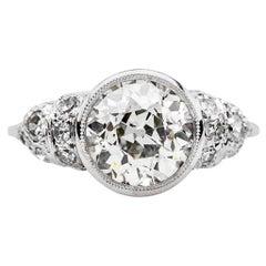 Art Deco 1.85 Carat Center Diamond Platinum Filigree Engagement Ring