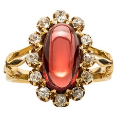 Victorian Cabochon Garnet and Old Mine Cut Diamond Ring