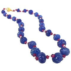 Decadent Jewels Carved Tanzanite Ruby Pearl Gold Necklace