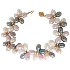 Multicolored Natural Freshwater Pearls Cluster Linked Bracelet 14 Karat