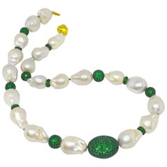 Decadent Jewels Baroque Pearl Green Onyx Silver Necklace
