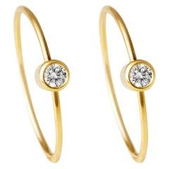 18 Karat Yellow Gold Diamond 0.06 Carat Hoop Pair of Earrings