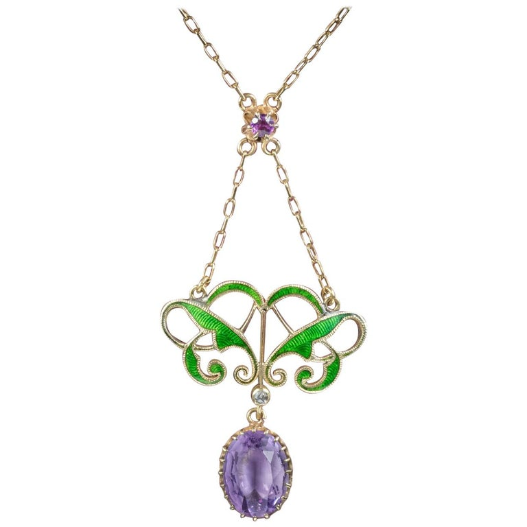 Antique Victorian Suffragette Pendant Necklace Amethyst, circa 1900