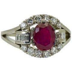 Burma Ruby and Diamonds Tiffany & Co. Art-Deco Platinum Ring, 1930s