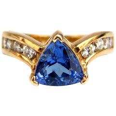 1.50 Carat Natural Trilliant Tanzanite Diamonds Ring 14 Karat